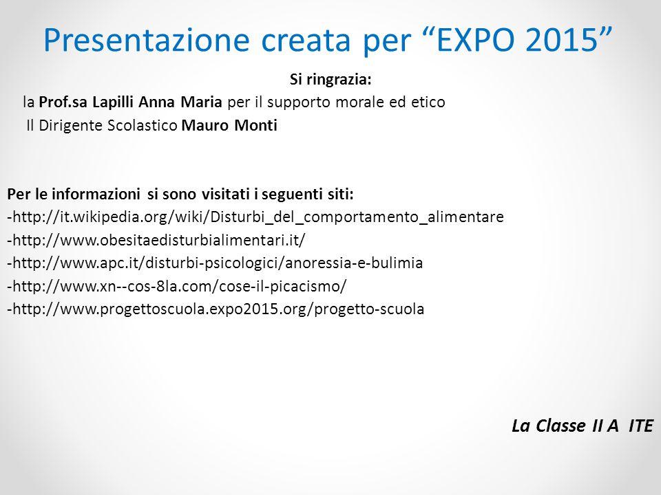 Presentazione creata per EXPO 2015 Si ringrazia: la Prof.sa Lapilli Anna Maria per il supporto morale ed etico Il Dirigente Scolastico Mauro Monti Per le informazioni si sono visitati i seguenti siti: -http://it.wikipedia.org/wiki/Disturbi_del_comportamento_alimentare -http://www.obesitaedisturbialimentari.it/ -http://www.apc.it/disturbi-psicologici/anoressia-e-bulimia -http://www.xn--cos-8la.com/cose-il-picacismo/ -http://www.progettoscuola.expo2015.org/progetto-scuola La Classe II A ITE