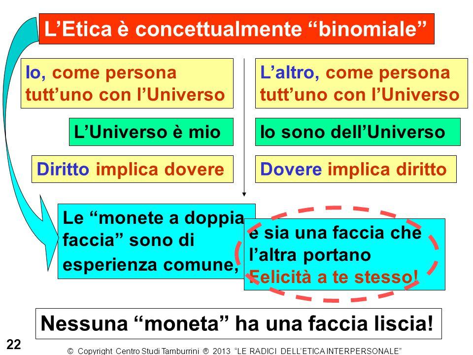 """L'Etica è concettualmente """"binomiale"""" Io, come persona tutt'uno con l'Universo L'altro, come persona tutt'uno con l'Universo L'Universo è mioIo sono d"""
