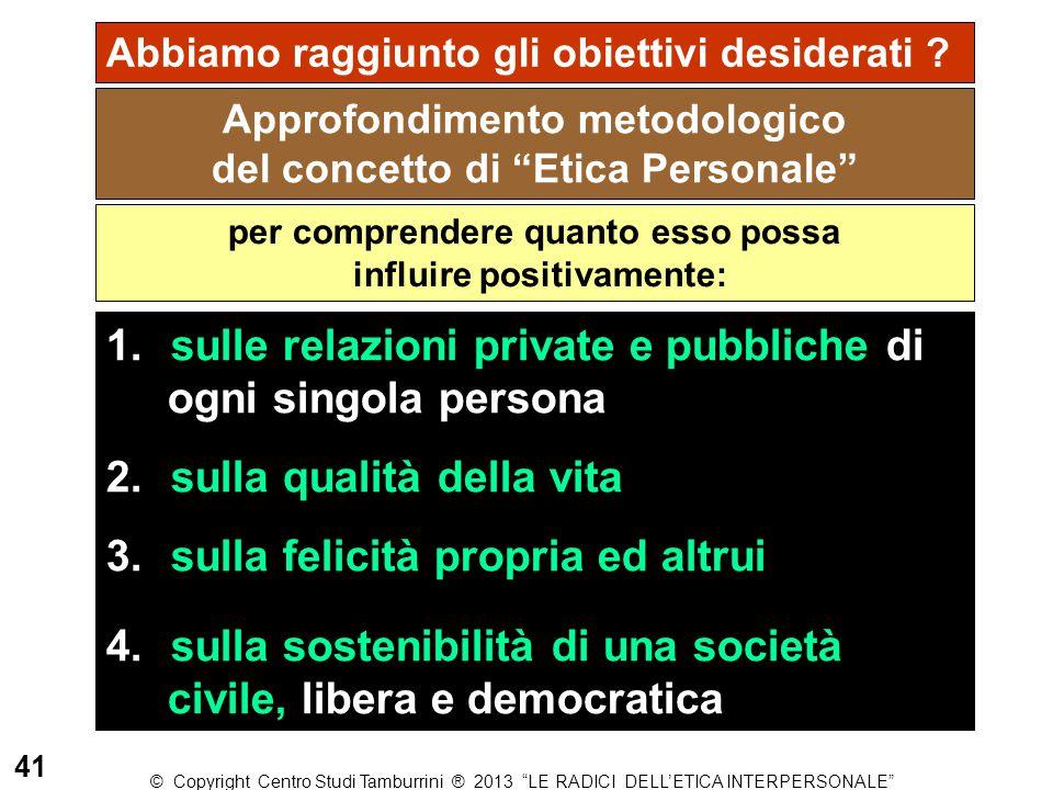 """Approfondimento metodologico del concetto di """"Etica Personale"""" Abbiamo raggiunto gli obiettivi desiderati ? per comprendere quanto esso possa influire"""