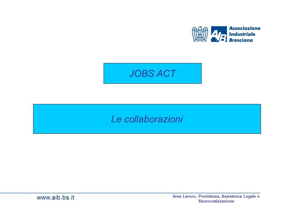 www.aib.bs.it Area Lavoro, Previdenza, Assistenza Legale e Sburocratizzazione Le collaborazioni JOBS ACT