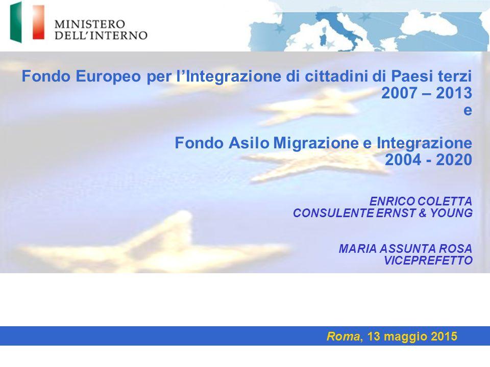 Fondo Europeo per l'Integrazione di cittadini di Paesi terzi 2007 – 2013 e Fondo Asilo Migrazione e Integrazione 2004 - 2020 ENRICO COLETTA CONSULENTE
