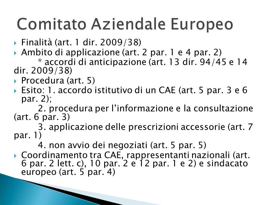  Finalità (art.1 dir. 2009/38)  Ambito di applicazione (art.