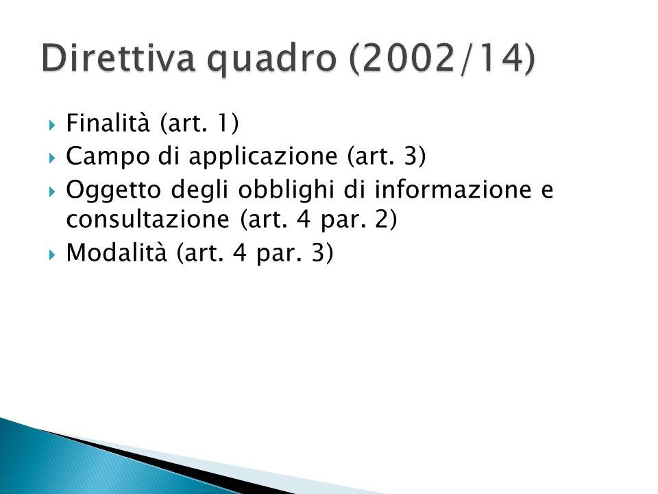  Reg.2157/2001  Procedura (art. 3)  Esito: 1. accordo sul coinvolgimento dei lavoratori (art.