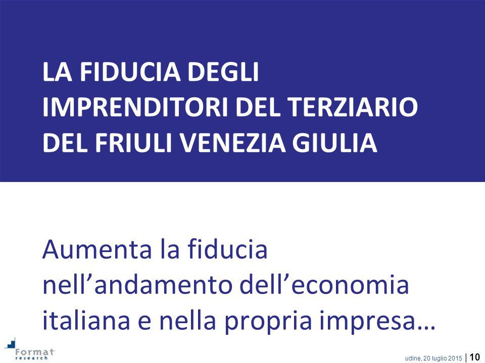 udine, 20 luglio 2015 | 10 LA FIDUCIA DEGLI IMPRENDITORI DEL TERZIARIO DEL FRIULI VENEZIA GIULIA Aumenta la fiducia nell'andamento dell'economia italiana e nella propria impresa…