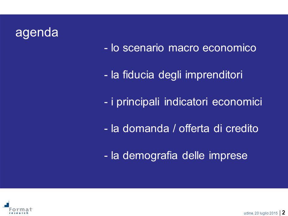 udine, 20 luglio 2015 | 2 agenda - lo scenario macro economico - la fiducia degli imprenditori - i principali indicatori economici - la domanda / offerta di credito - la demografia delle imprese