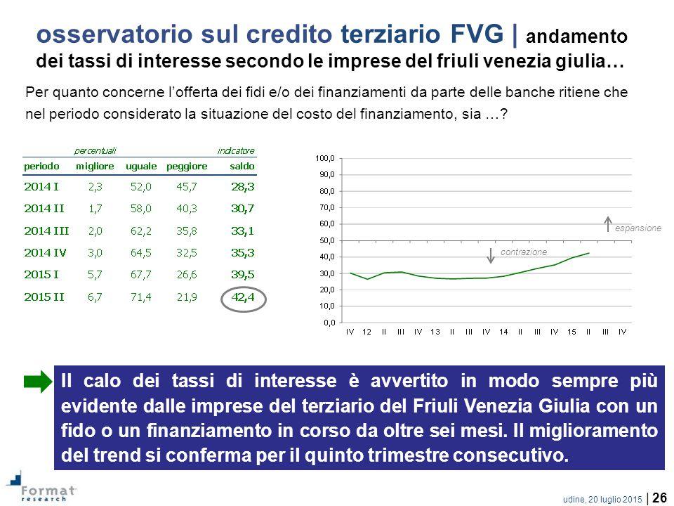 udine, 20 luglio 2015 | 26 Per quanto concerne l'offerta dei fidi e/o dei finanziamenti da parte delle banche ritiene che nel periodo considerato la situazione del costo del finanziamento, sia ….