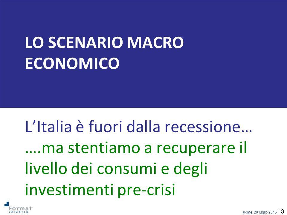 udine, 20 luglio 2015 | 3 LO SCENARIO MACRO ECONOMICO L'Italia è fuori dalla recessione… ….ma stentiamo a recuperare il livello dei consumi e degli investimenti pre-crisi