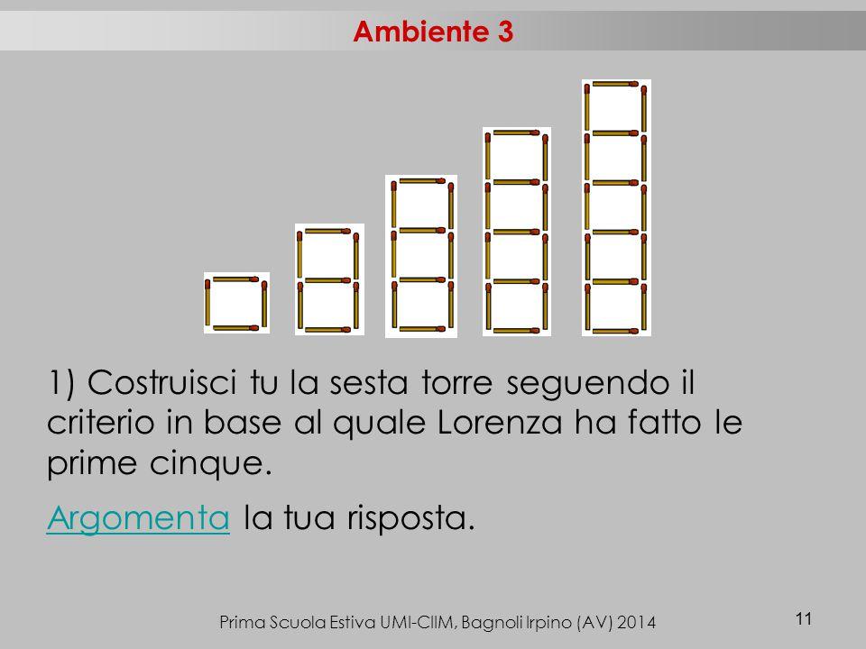 Prima Scuola Estiva UMI-CIIM, Bagnoli Irpino (AV) 2014 11 1) Costruisci tu la sesta torre seguendo il criterio in base al quale Lorenza ha fatto le prime cinque.