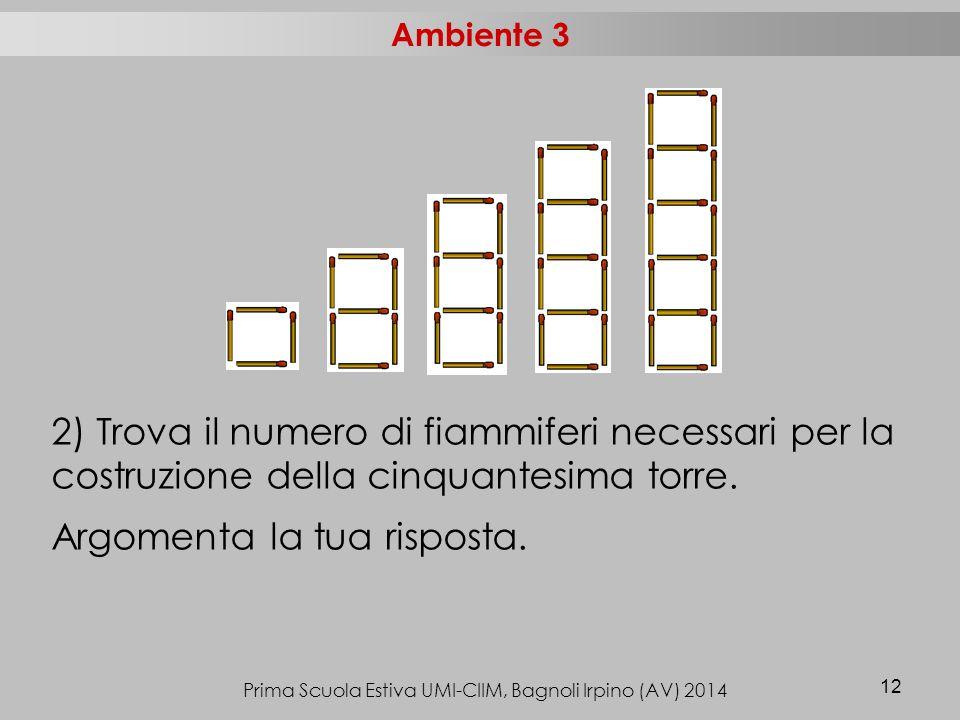 Prima Scuola Estiva UMI-CIIM, Bagnoli Irpino (AV) 2014 12 2) Trova il numero di fiammiferi necessari per la costruzione della cinquantesima torre.