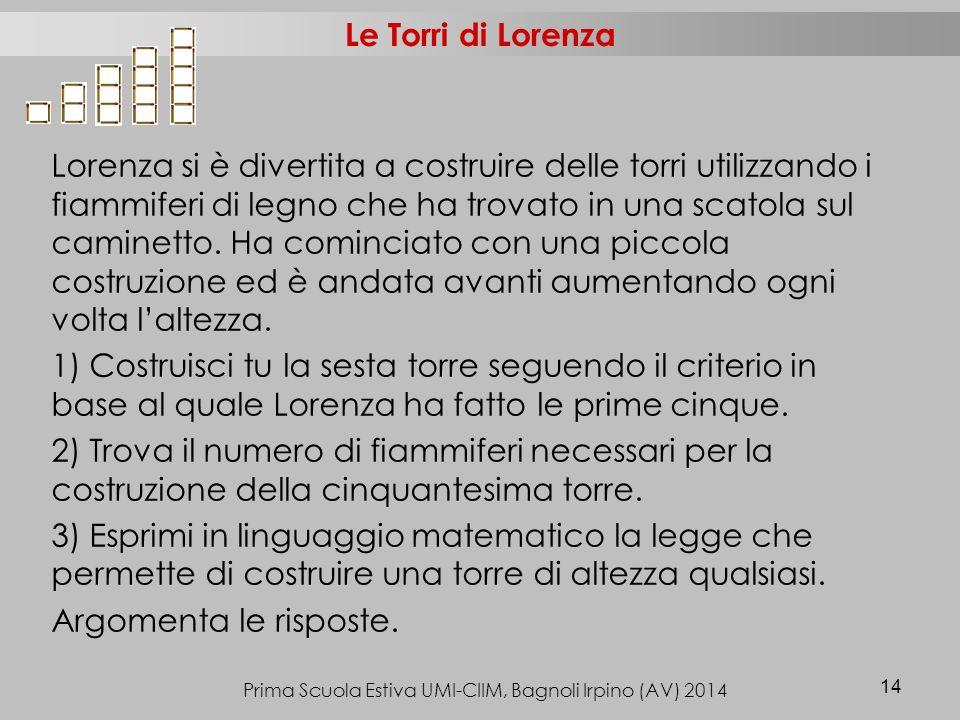 Prima Scuola Estiva UMI-CIIM, Bagnoli Irpino (AV) 2014 14 Le Torri di Lorenza Lorenza si è divertita a costruire delle torri utilizzando i fiammiferi di legno che ha trovato in una scatola sul caminetto.
