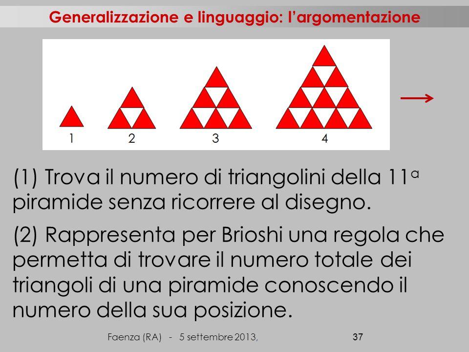 (1) Trova il numero di triangolini della 11 a piramide senza ricorrere al disegno.