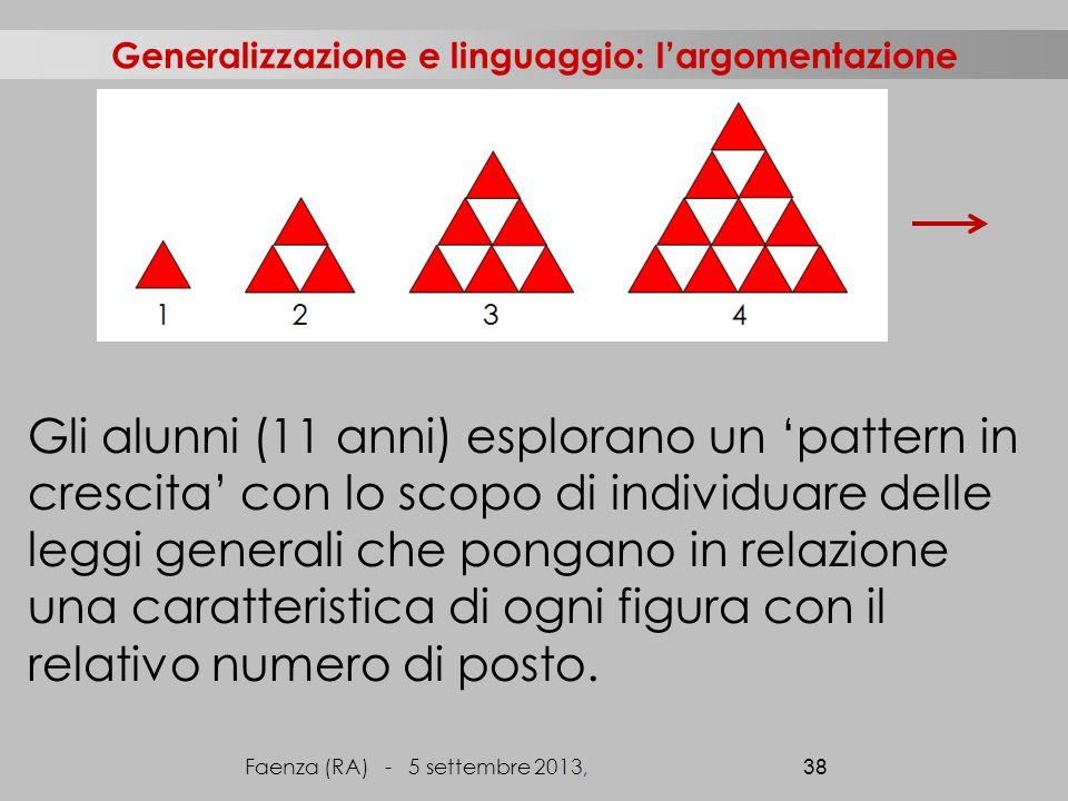 Generalizzazione e linguaggio: l'argomentazione Gli alunni (11 anni) esplorano un 'pattern in crescita' con lo scopo di individuare delle leggi generali che pongano in relazione una caratteristica di ogni figura con il relativo numero di posto.