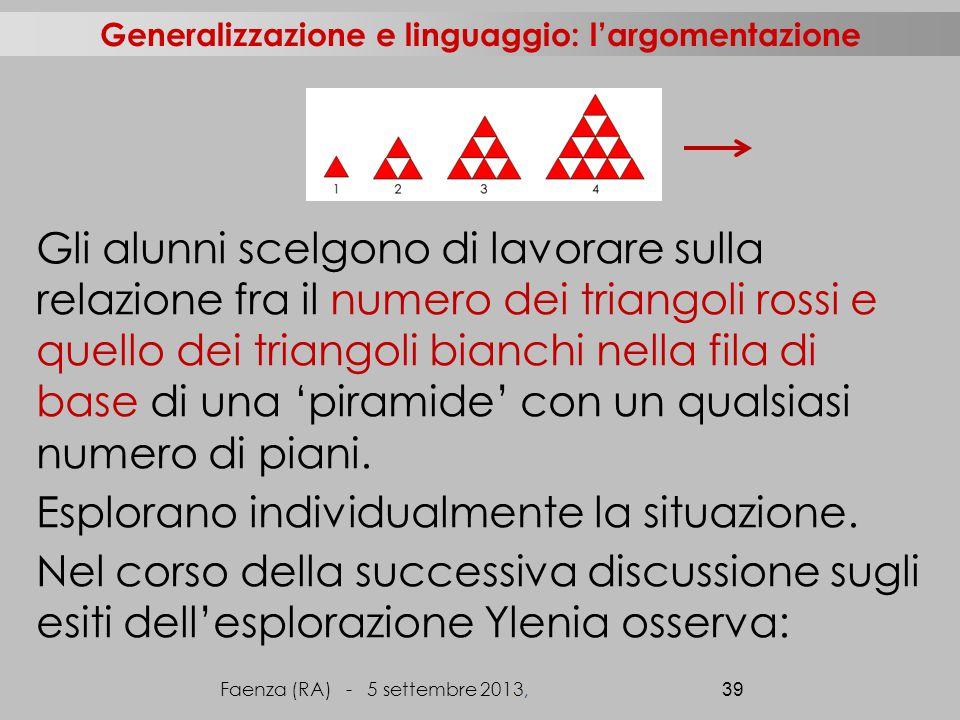 Gli alunni scelgono di lavorare sulla relazione fra il numero dei triangoli rossi e quello dei triangoli bianchi nella fila di base di una 'piramide' con un qualsiasi numero di piani.