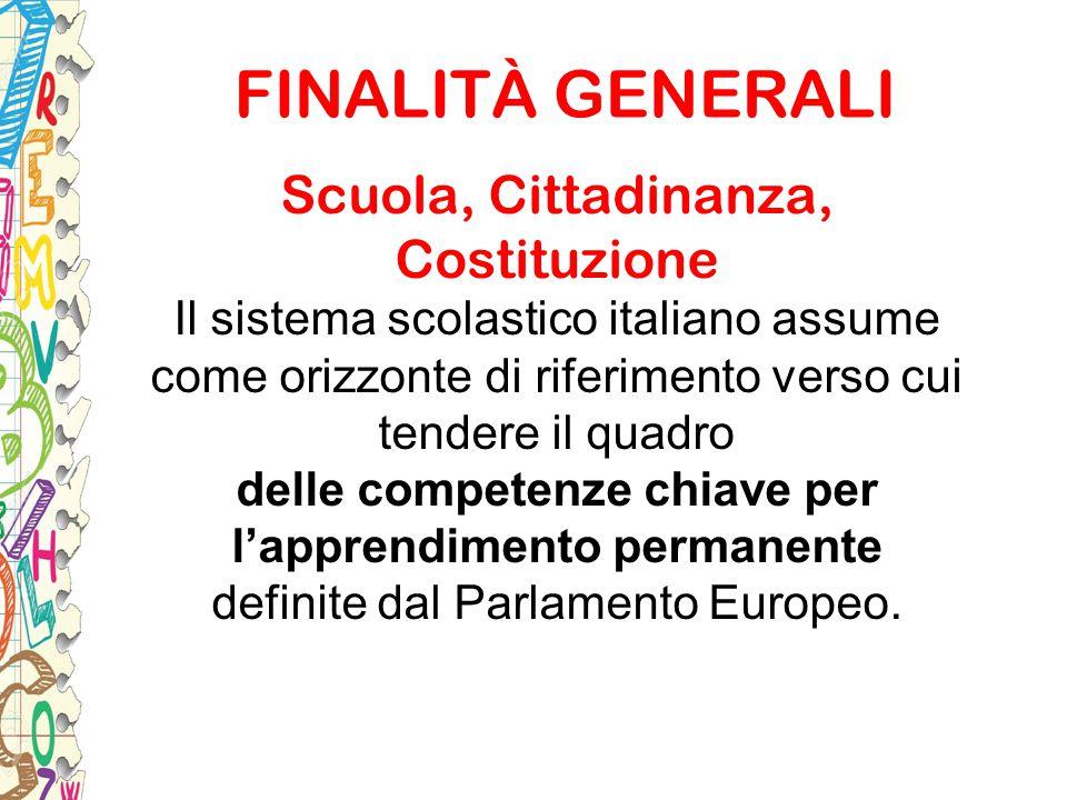 Scuola, Cittadinanza, Costituzione Il sistema scolastico italiano assume come orizzonte di riferimento verso cui tendere il quadro delle competenze ch