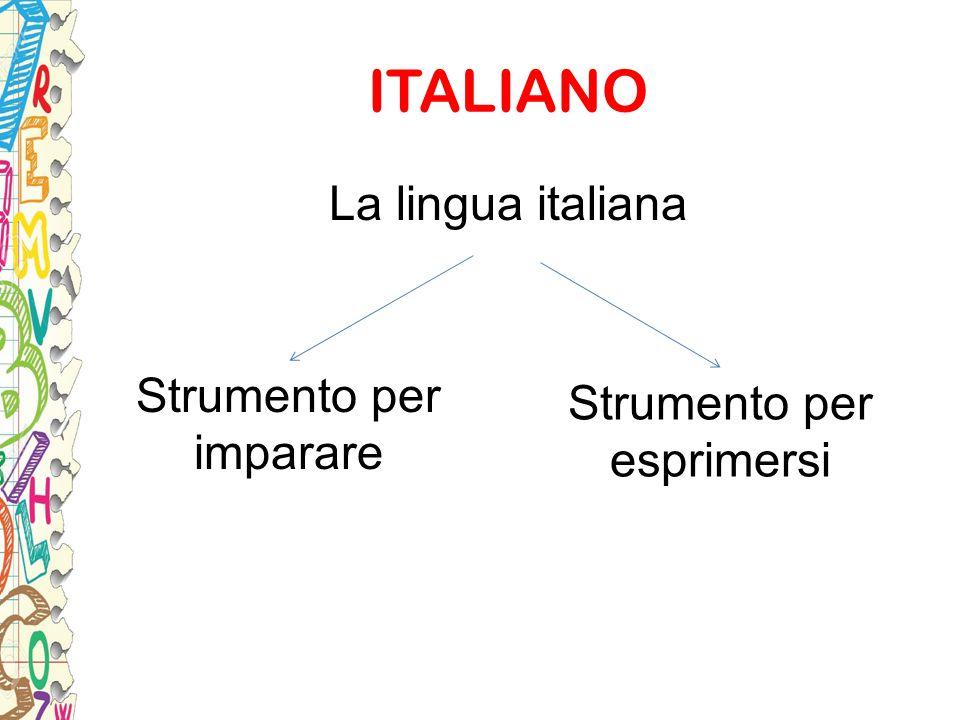 ITALIANO La lingua italiana Strumento per imparare Strumento per esprimersi