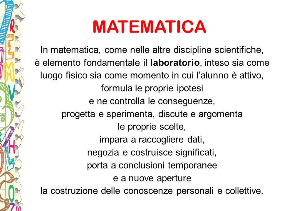 MATEMATICA In matematica, come nelle altre discipline scientifiche, è elemento fondamentale il laboratorio, inteso sia come luogo fisico sia come mome
