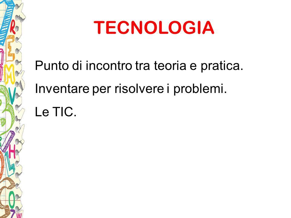 TECNOLOGIA Punto di incontro tra teoria e pratica. Inventare per risolvere i problemi. Le TIC.