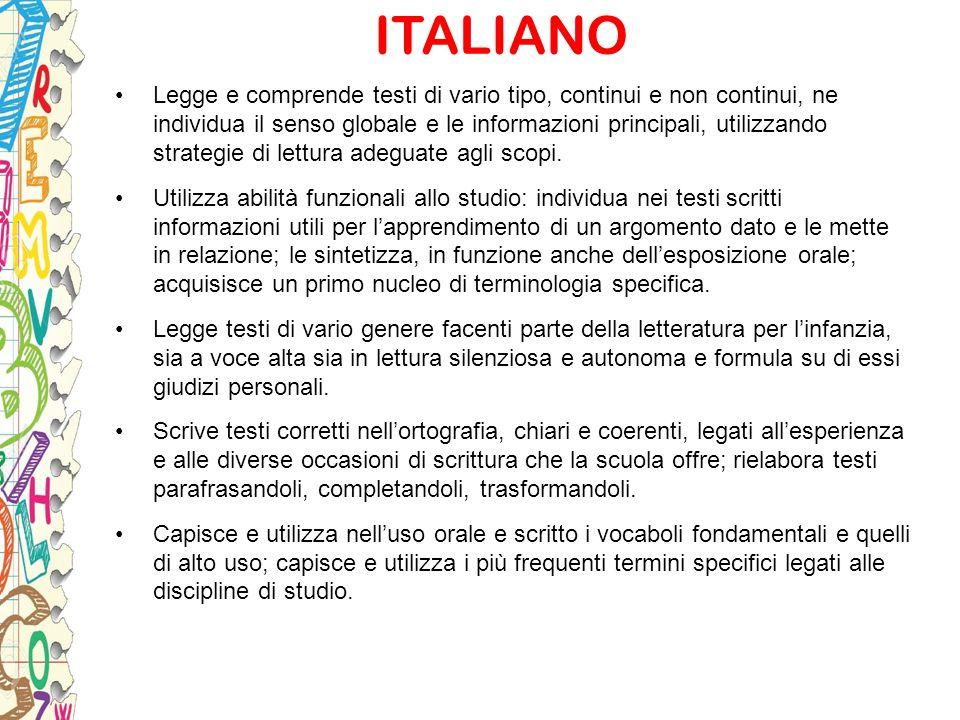 ITALIANO Legge e comprende testi di vario tipo, continui e non continui, ne individua il senso globale e le informazioni principali, utilizzando strat