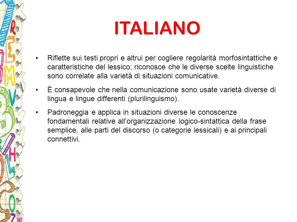 ITALIANO Riflette sui testi propri e altrui per cogliere regolarità morfosintattiche e caratteristiche del lessico; riconosce che le diverse scelte li