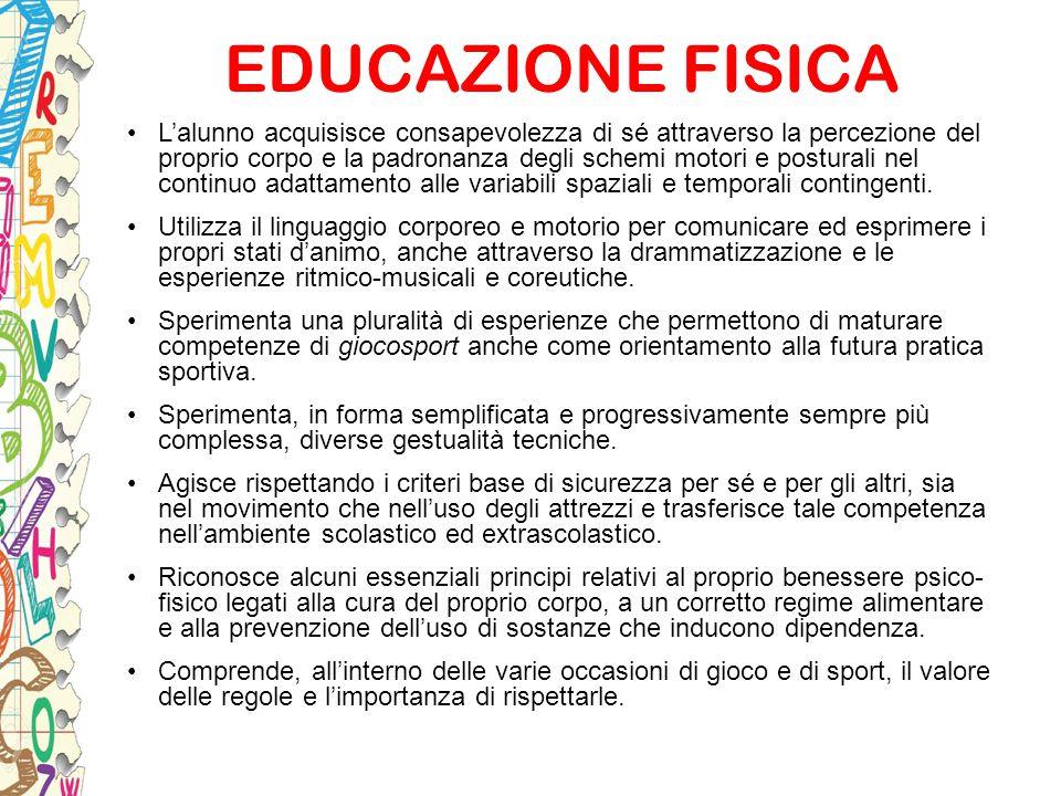 EDUCAZIONE FISICA L'alunno acquisisce consapevolezza di sé attraverso la percezione del proprio corpo e la padronanza degli schemi motori e posturali
