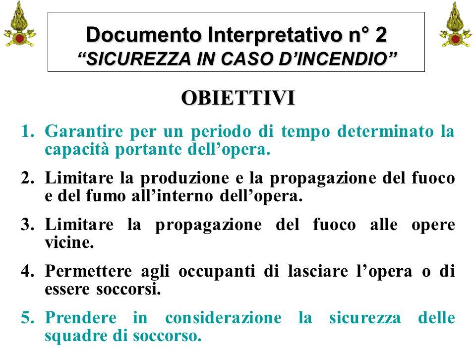 """Comando VF FerraraIng. C. CUSIN15 Documento Interpretativo n° 2 """"SICUREZZA IN CASO D'INCENDIO"""" OBIETTIVI 1.Garantire per un periodo di tempo determina"""