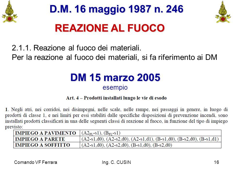 Comando VF FerraraIng. C. CUSIN16 D.M. 16 maggio 1987 n. 246 REAZIONE AL FUOCO 2.1.1. Reazione al fuoco dei materiali. Per la reazione al fuoco dei ma