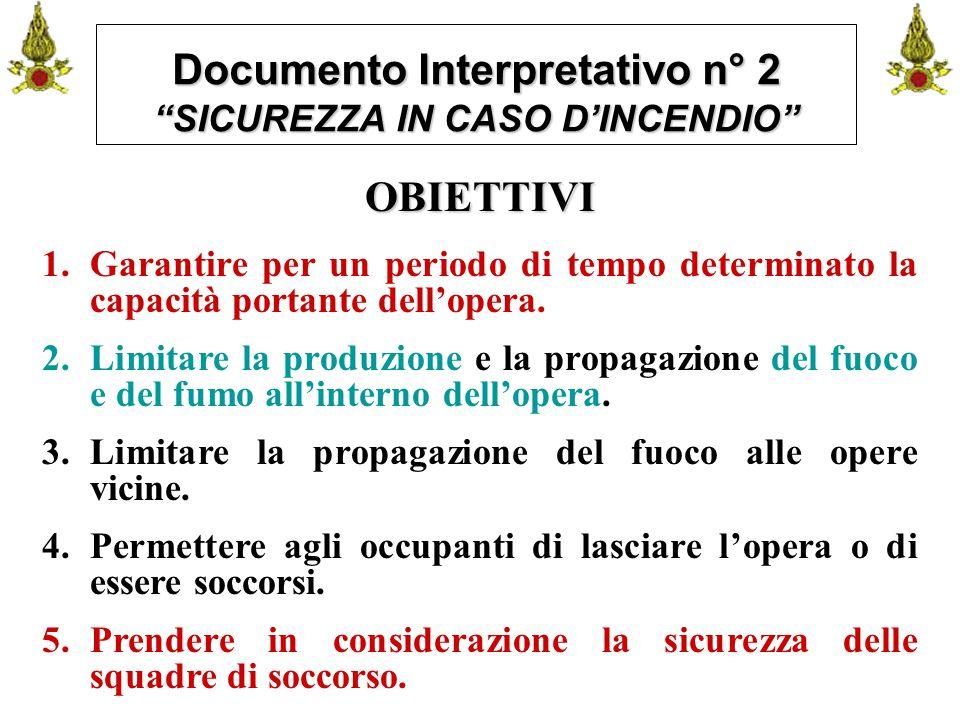 """Comando VF FerraraIng. C. CUSIN17 Documento Interpretativo n° 2 """"SICUREZZA IN CASO D'INCENDIO"""" OBIETTIVI 1.Garantire per un periodo di tempo determina"""