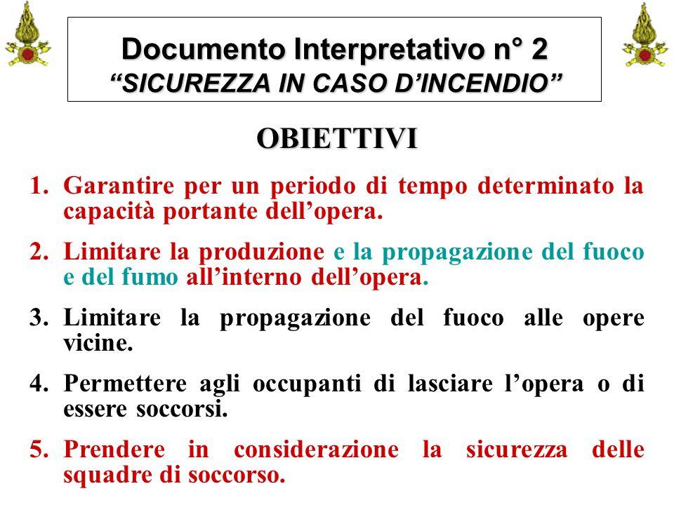 """Comando VF FerraraIng. C. CUSIN20 Documento Interpretativo n° 2 """"SICUREZZA IN CASO D'INCENDIO"""" OBIETTIVI 1.Garantire per un periodo di tempo determina"""
