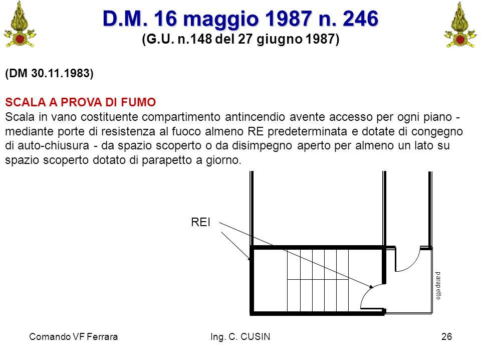 Comando VF FerraraIng. C. CUSIN26 (DM 30.11.1983) SCALA A PROVA DI FUMO Scala in vano costituente compartimento antincendio avente accesso per ogni pi