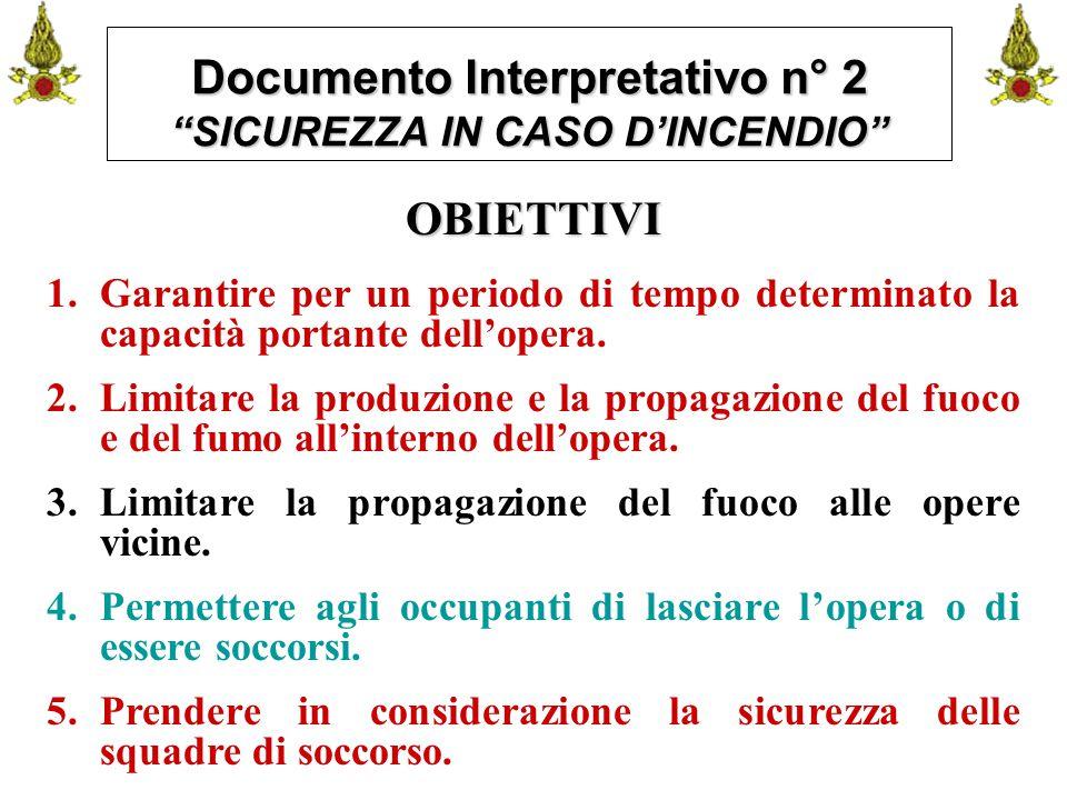 """Comando VF FerraraIng. C. CUSIN29 Documento Interpretativo n° 2 """"SICUREZZA IN CASO D'INCENDIO"""" OBIETTIVI 1.Garantire per un periodo di tempo determina"""