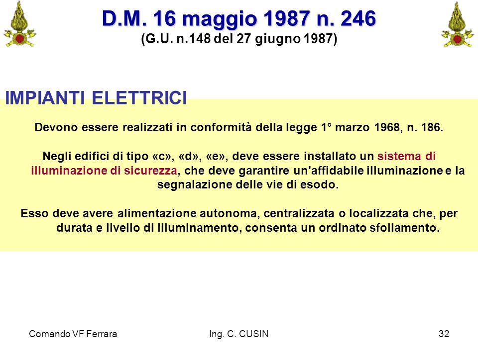 Comando VF FerraraIng. C. CUSIN32 IMPIANTI ELETTRICI Devono essere realizzati in conformità della legge 1° marzo 1968, n. 186. Negli edifici di tipo «