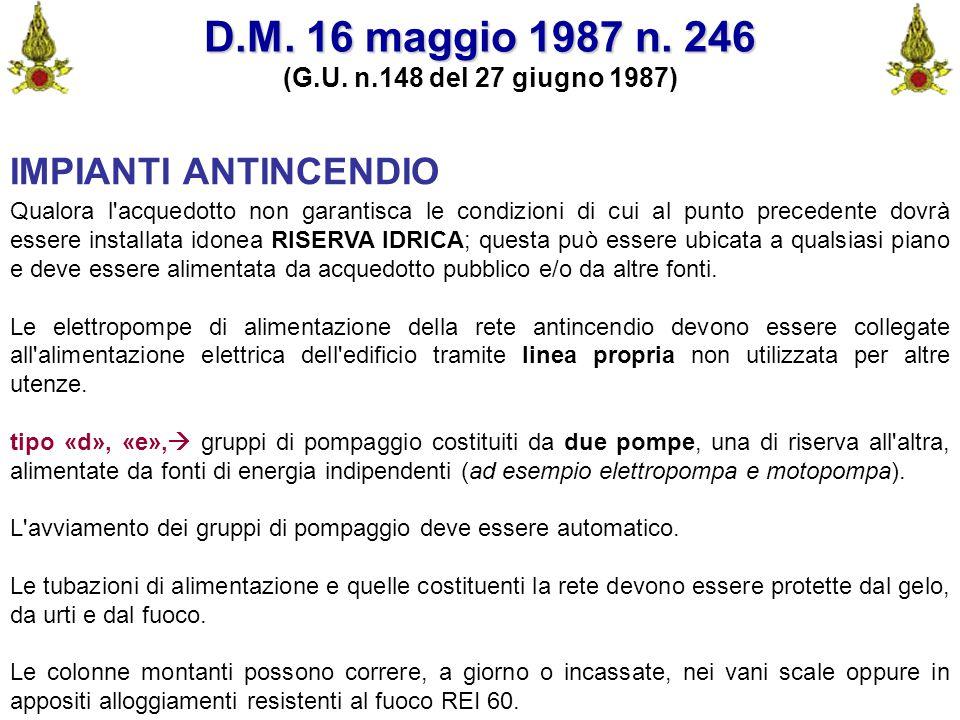 Comando VF FerraraIng. C. CUSIN35 D.M. 16 maggio 1987 n. 246 (G.U. n.148 del 27 giugno 1987) IMPIANTI ANTINCENDIO Qualora l'acquedotto non garantisca