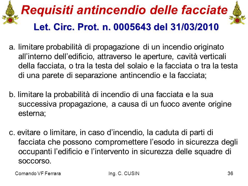 Comando VF FerraraIng. C. CUSIN36 Requisiti antincendio delle facciate Let. Circ. Prot. n. 0005643 del 31/03/2010 Let. Circ. Prot. n. 0005643 del 31/0