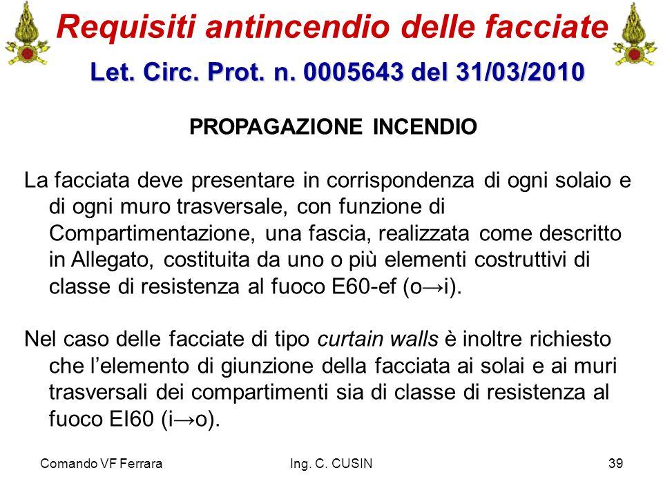 Comando VF FerraraIng. C. CUSIN39 Requisiti antincendio delle facciate Let. Circ. Prot. n. 0005643 del 31/03/2010 Let. Circ. Prot. n. 0005643 del 31/0