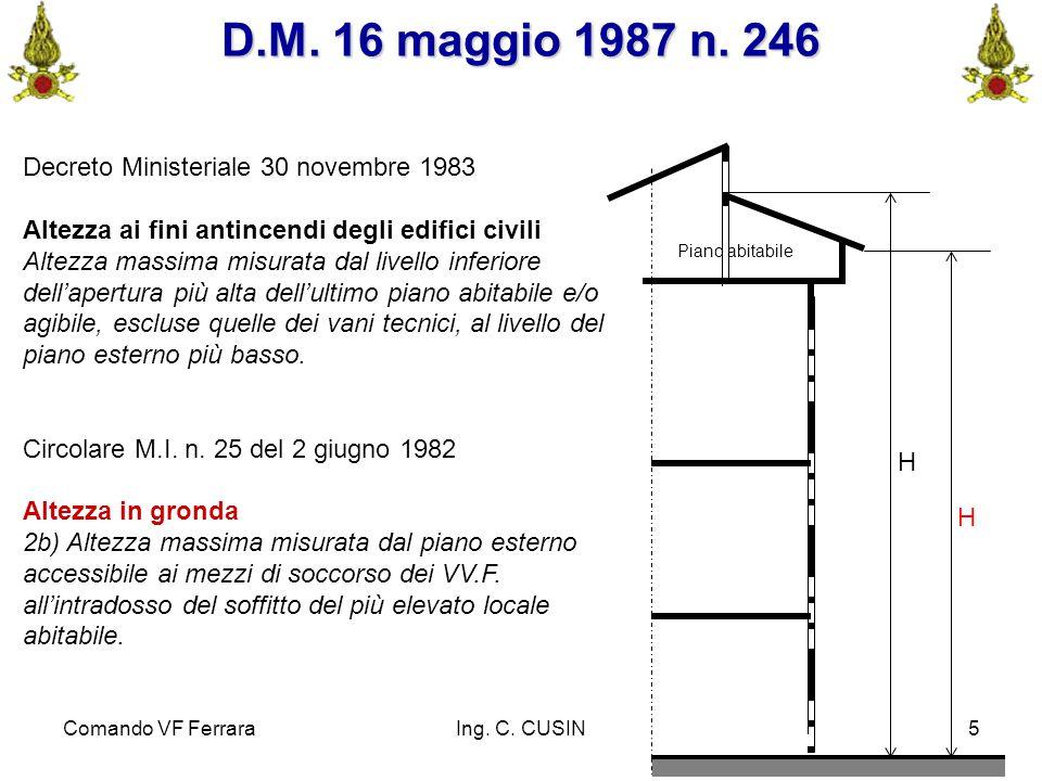 Comando VF FerraraIng. C. CUSIN5 H Piano abitabile H D.M. 16 maggio 1987 n. 246 Decreto Ministeriale 30 novembre 1983 Altezza ai fini antincendi degli