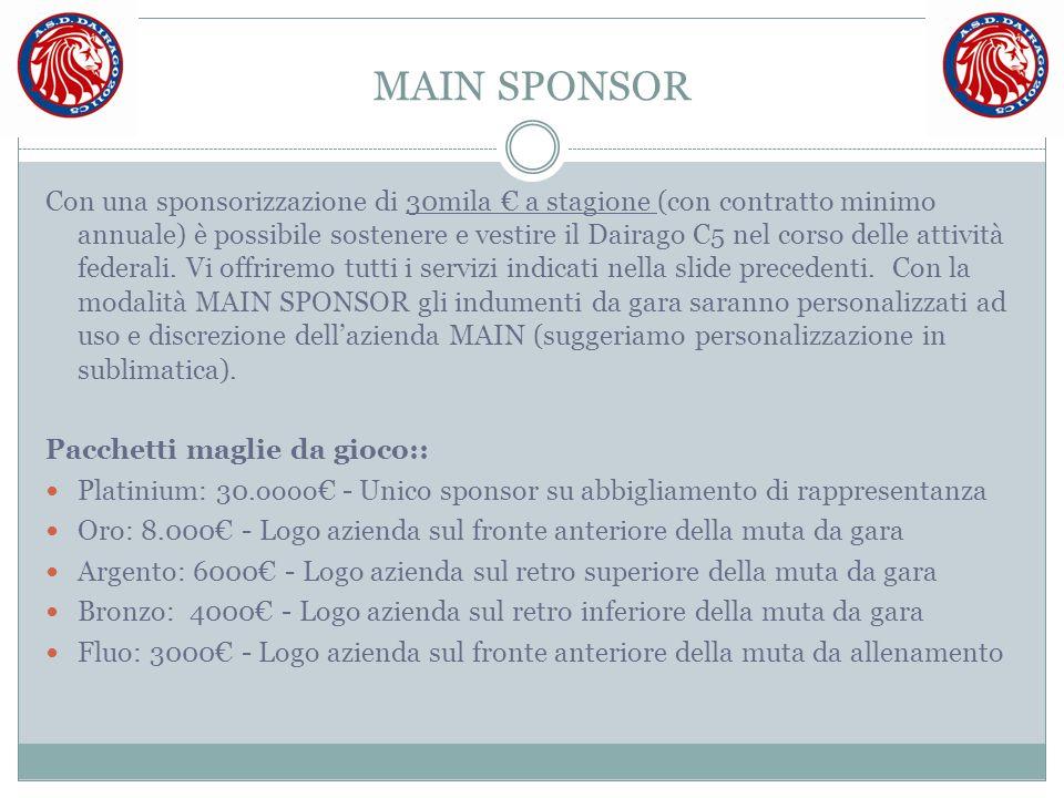 MAIN SPONSOR Con una sponsorizzazione di 30mila € a stagione (con contratto minimo annuale) è possibile sostenere e vestire il Dairago C5 nel corso de