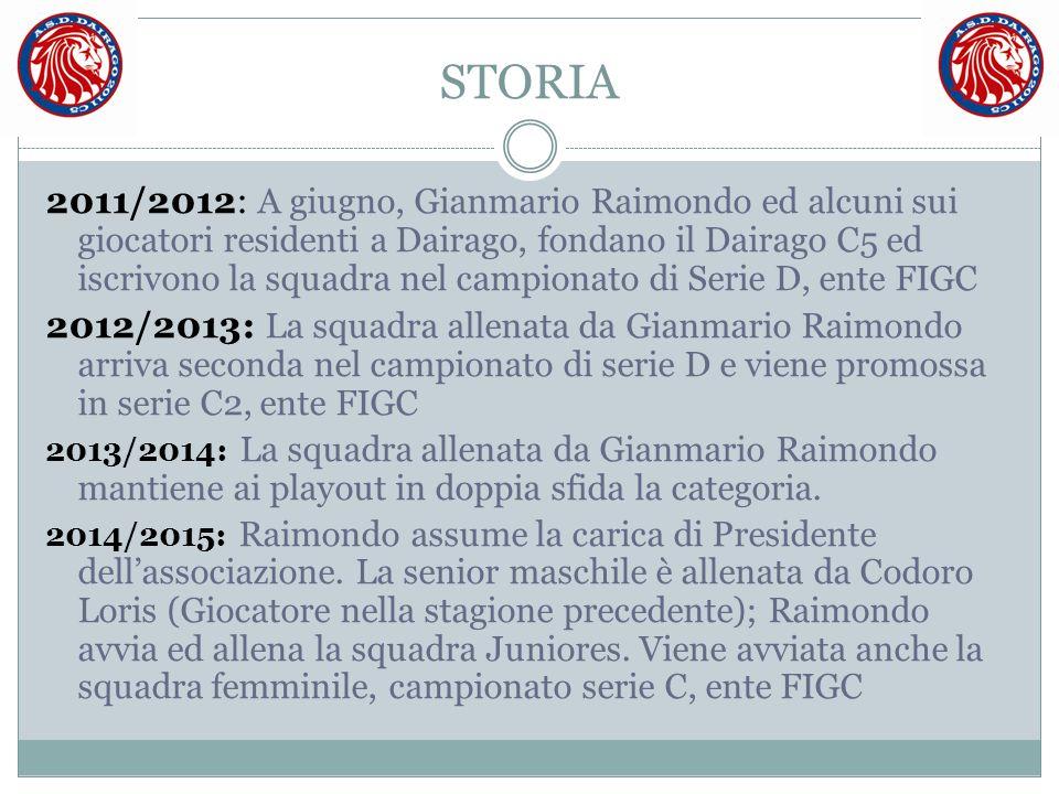 STORIA 2011/2012: A giugno, Gianmario Raimondo ed alcuni sui giocatori residenti a Dairago, fondano il Dairago C5 ed iscrivono la squadra nel campiona