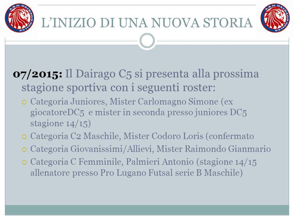 L'INIZIO DI UNA NUOVA STORIA 07/2015: Il Dairago C5 si presenta alla prossima stagione sportiva con i seguenti roster:  Categoria Juniores, Mister Ca