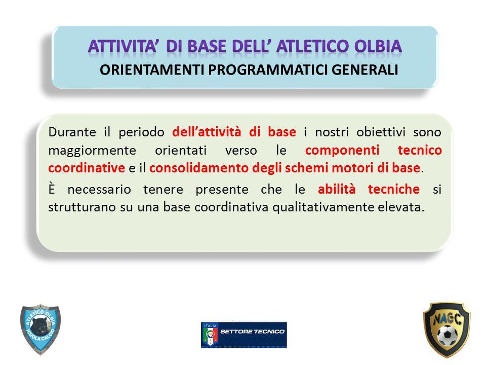 Durante il periodo dell'attività di base i nostri obiettivi sono maggiormente orientati verso le componenti tecnico coordinative e il consolidamento d
