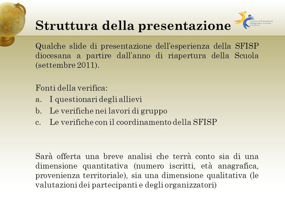 Struttura della presentazione Qualche slide di presentazione dell'esperienza della SFISP diocesana a partire dall'anno di riapertura della Scuola (settembre 2011).