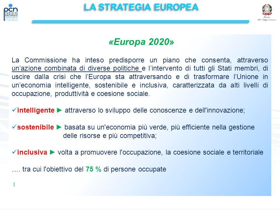 LA STRATEGIA EUROPEA «Europa 2020» La Commissione ha inteso predisporre un piano che consenta, attraverso un'azione combinata di diverse politiche e l'intervento di tutti gli Stati membri, di uscire dalla crisi che l'Europa sta attraversando e di trasformare l'Unione in un'economia intelligente, sostenibile e inclusiva, caratterizzata da alti livelli di occupazione, produttività e coesione sociale.