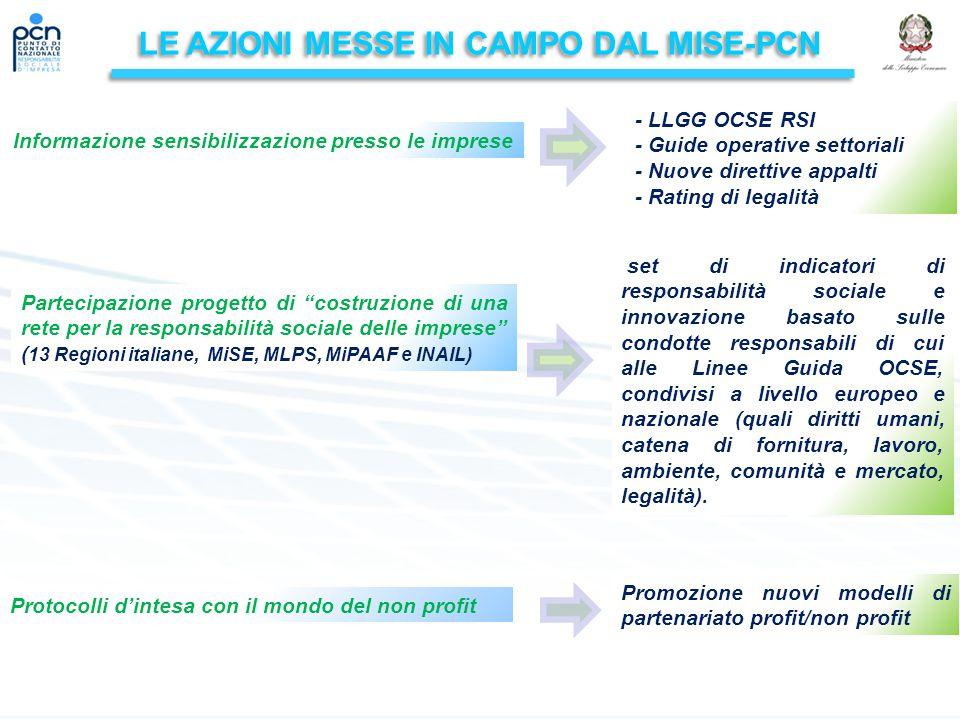 LE AZIONI MESSE IN CAMPO DAL MISE-PCN Partecipazione progetto di costruzione di una rete per la responsabilità sociale delle imprese ( 13 Regioni italiane, MiSE, MLPS, MiPAAF e INAIL) Protocolli d'intesa con il mondo del non profit Promozione nuovi modelli di partenariato profit/non profit set di indicatori di responsabilità sociale e innovazione basato sulle condotte responsabili di cui alle Linee Guida OCSE, condivisi a livello europeo e nazionale (quali diritti umani, catena di fornitura, lavoro, ambiente, comunità e mercato, legalità).