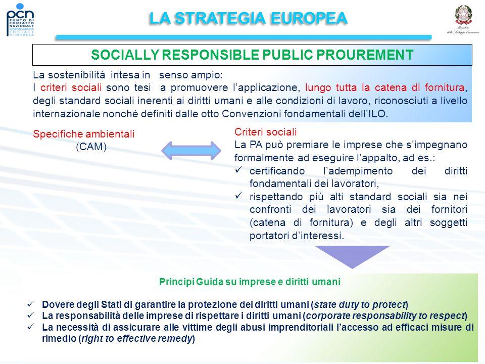 LA STRATEGIA EUROPEA La sostenibilità intesa in senso ampio: I criteri sociali sono tesi a promuovere l'applicazione, lungo tutta la catena di fornitura, degli standard sociali inerenti ai diritti umani e alle condizioni di lavoro, riconosciuti a livello internazionale nonché definiti dalle otto Convenzioni fondamentali dell'ILO.
