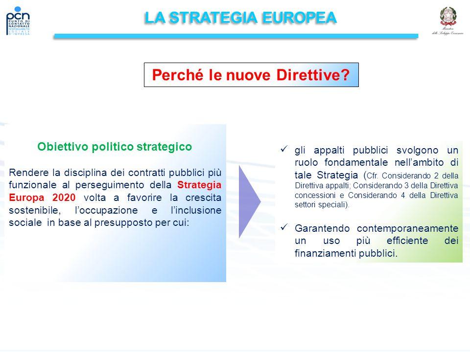 LA STRATEGIA EUROPEA Obiettivo politico strategico Rendere la disciplina dei contratti pubblici più funzionale al perseguimento della Strategia Europa 2020 volta a favorire la crescita sostenibile, l'occupazione e l'inclusione sociale in base al presupposto per cui: gli appalti pubblici svolgono un ruolo fondamentale nell'ambito di tale Strategia ( Cfr.