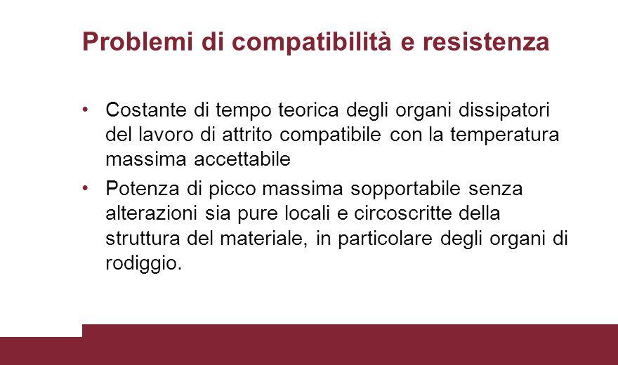 Problemi di compatibilità e resistenza Costante di tempo teorica degli organi dissipatori del lavoro di attrito compatibile con la temperatura massima