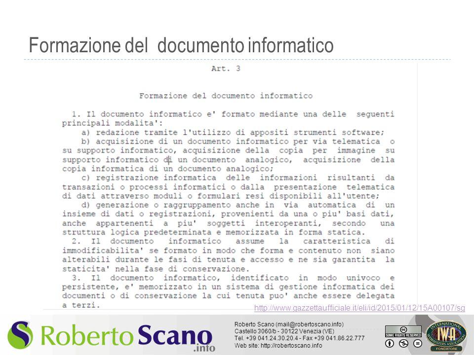 Roberto Scano (mail@robertoscano.info) Castello 3060/b - 30122 Venezia (VE) Tel. +39 041.24.30.20.4 - Fax +39 041.86.22.777 Web site: http://robertosc
