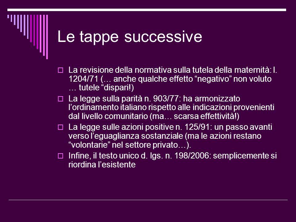 """Le tappe successive  La revisione della normativa sulla tutela della maternità: l. 1204/71 (… anche qualche effetto """"negativo"""" non voluto … tutele """"d"""