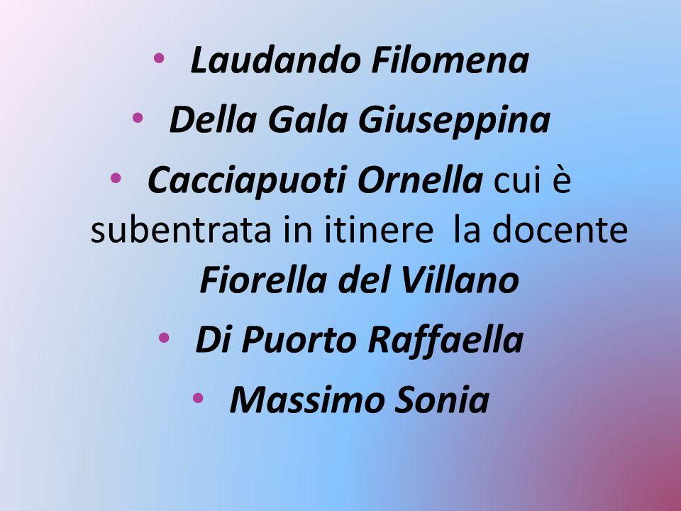 Laudando Filomena Della Gala Giuseppina Cacciapuoti Ornella cui è subentrata in itinere la docente Fiorella del Villano Di Puorto Raffaella Massimo So