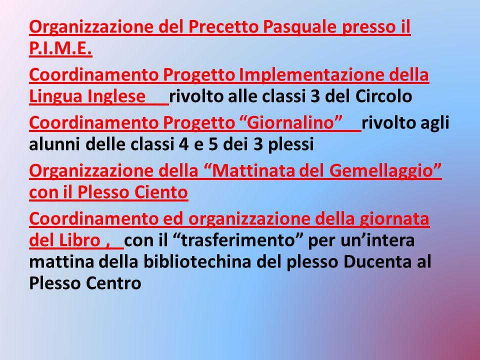 Organizzazione del Precetto Pasquale presso il P.I.M.E. Coordinamento Progetto Implementazione della Lingua Inglese rivolto alle classi 3 del Circolo