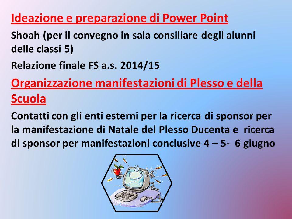 Ideazione e preparazione di Power Point Shoah (per il convegno in sala consiliare degli alunni delle classi 5) Relazione finale FS a.s. 2014/15 Organi